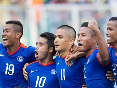 Indian team celebrates during the semi-final match against Maldives. Image courtesy: SAFF Suzuki Cup Twitter