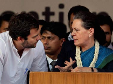 Sonia Gandhi (left) with Rahul Gandhi. PTI