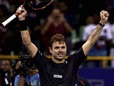 Stan Wawrinka celebrates after defeating Borna Coric in straight sets in the Chennai Open finals. PTI