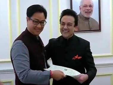 Adnan Sami getting his Indian citizenship.  Image Credit: Twitter @AdnanSamiLive