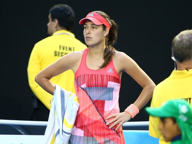 na Ivanovic of Serbia looks towards her players box as her coach Nigel Sears fell over in the stands in her third round match against Madison Keys. Getty