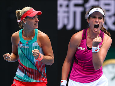 Angelique Kerber and Johanna Konta at the Australian Open. Getty Images
