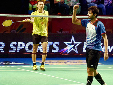 Sai Praneeth of Awadhe Warriors celebrates after defeating Sony Dwi Kuncoro of Chennai Smashers. PTI