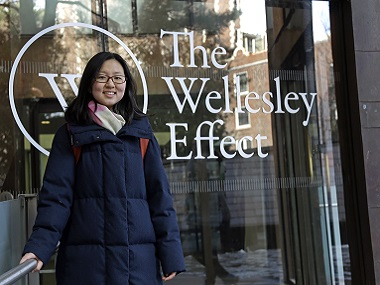 Linda Liu, from Beijing, a freshman at Wellesley College, Massachusetts. AP