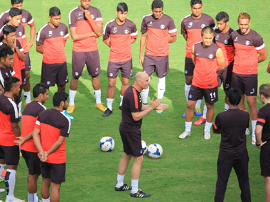 Head coach Stephen Constantine oversees a training camp. AIFF
