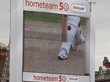 A television screen shows the Decision Review System, (DRS) being used on an LBW decision given against England's Kevin Pietersen on the first day of the first NPower Test match against Pakistan at Trent Bridge in Nottingham, in central England, on July 29, 2010. It is the first time the DRS has been used in cricket in Britain. AFP PHOTO/IAN KINGTON