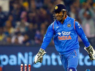 MS Dhoni during the second T20I at Melbourne. Getty