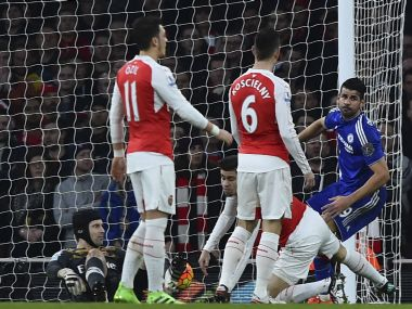 Diego Costa scored the only goal of the match after Arsenal were down to 10 men. AFP