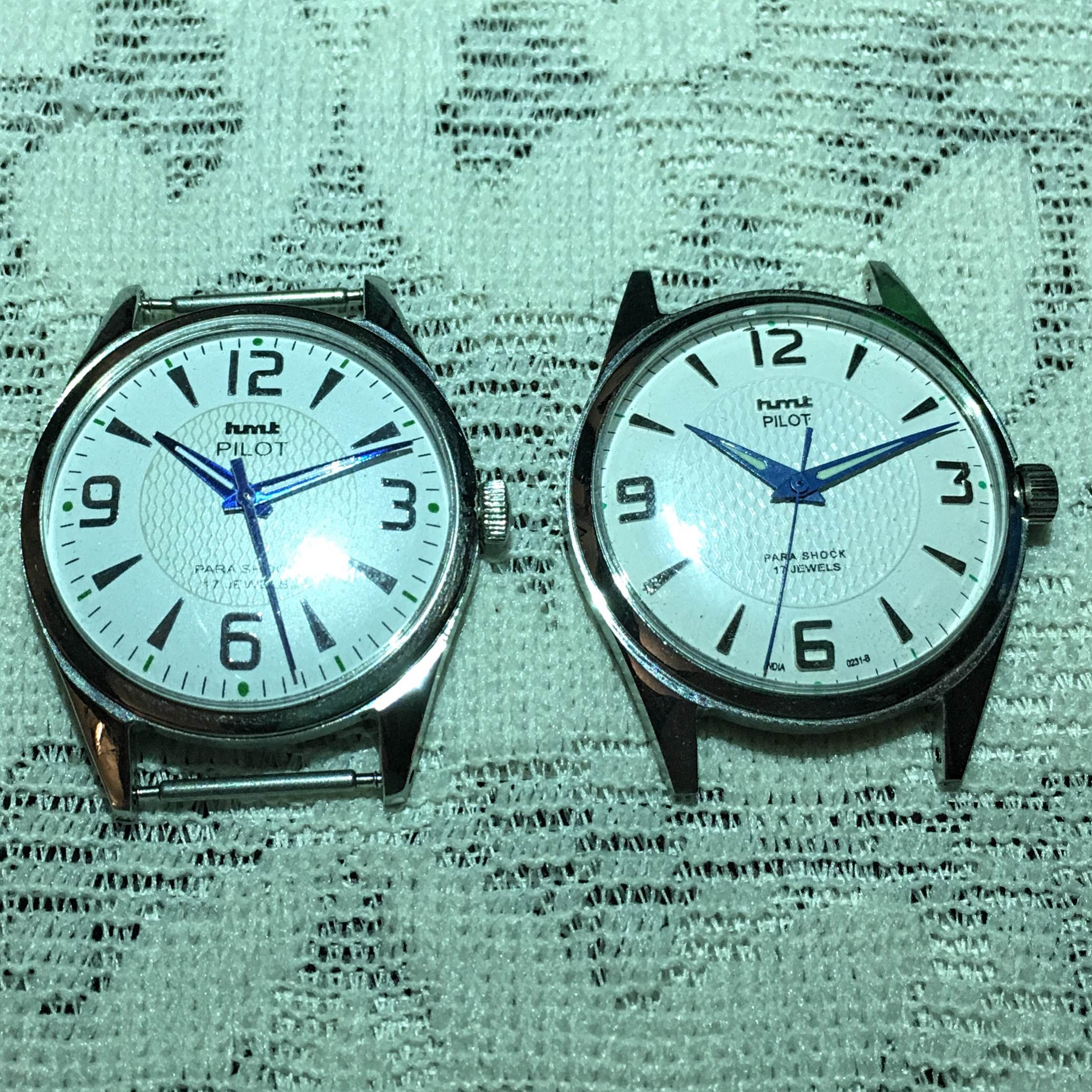 The HMT White Pilot is the most iconic modern HMT. On the left is the fake, with the real thing on the right.