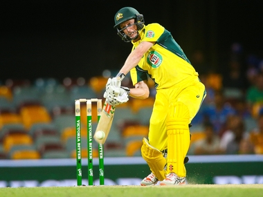 George Bailey drives en route his 76 not-out during the 2nd ODI between India and Australia in Brisbane. AFP