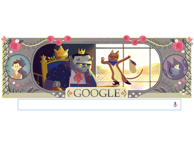 The Google Doodle celebrating Charles Perrault's 388th birthday.