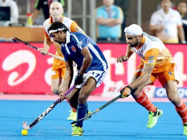Dabang Mumbai and Kalinga Lancers players in action during their match at the Hockey India League. PTI