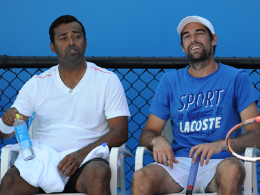 Leander Paes with his  partner Jeremy Charady at the Australian Open. AFP