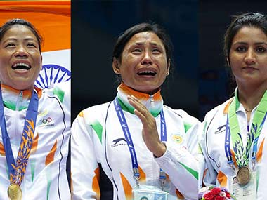 File photo of Mary Kom, Sarita Devi, Pooja Rani. Getty Images