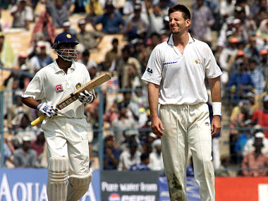 14 Mar 2001: Michael Kasprowicz of Australia shows his frustration as VVS Laxman of India hits out during day four of the 2nd Test between India and Australia played at Eden Gardens, Calcutta, India. Getty