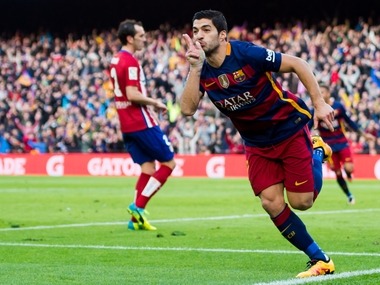 Luis Suarez celebrates his goal against Atletico Madrid. Getty