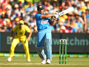 India limited overs captain MS Dhoni in action against Australia. Getty
