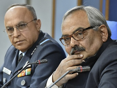 Home Secretary Rajiv Mehrishi (right) and Director-General Air Operations Air Marshal Anil Khosla. AP