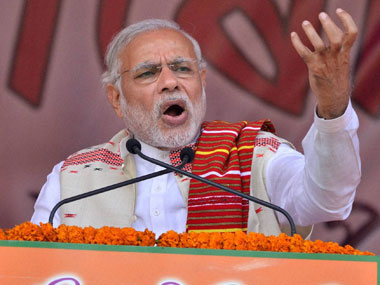 Prime Minister Narendra Modi addressing the BJP Youth Rally at Veterinary Playground, Khanapara in Guwahati on Tuesday. PTI