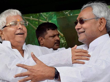Bihar CM Nitish Kumar and RJD chief Lalu Prasad. PTI