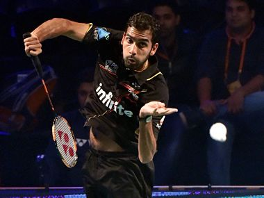 Rajiv Ouseph in action against Srikanth Kidambi (unseen) during the Premier Bandminton League Men's singles match in New Delhi. PTI