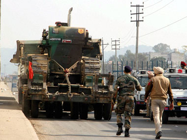 Security personnel during their operation against the militants who attacked the Indian Air Force base in Pathankot on Sunday. PTI