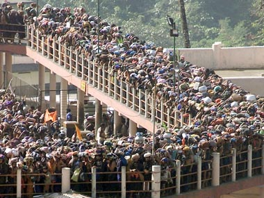 A file image of pilgrims queuing outside the Sabarimala Temple. Reuters