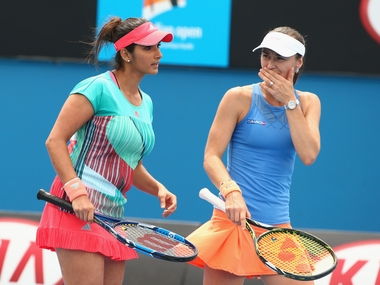 Sania Mirza and Martina Hingis at the Australian Open. Getty