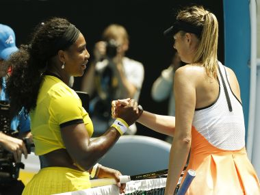 Serena Williams and Maria Sharapova shake hands after their match. Reuters