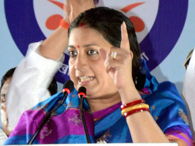 Smriti Irani in a file photo. PTI