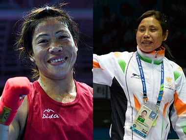 File photo of Mary Kom and Sarita Devi. AFP