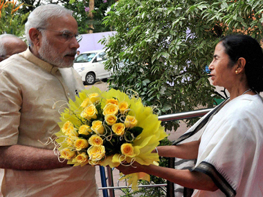 Narendra Modi and Mamata Banerjee. File photo. PTI