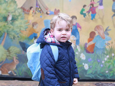 Prince George on his first day of school. Image Credit: Twitter @kensingtonroya