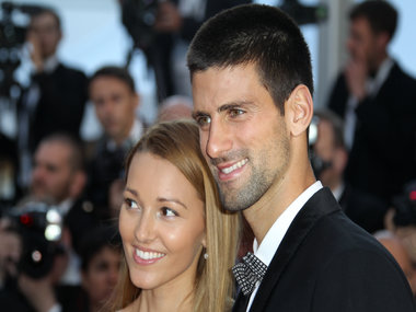 Serbian tennis player Novak Djokovic and his wife Jelena. AFP