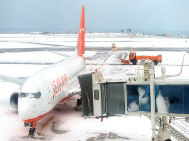 A general view shows a Jeju airlines Boeing 737 aircraft parked amid snow coverage at Jeju airport on 25 January, 2016. AFP