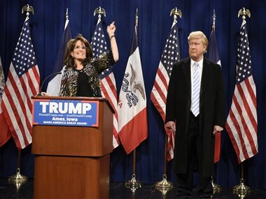 This Saturday, January 23, image provided by NBC shows Tina Fey, left, as Sarah Palin and Darrell Hammond as Donald Trump on &quot;Saturday Nig...</p><p><a href=