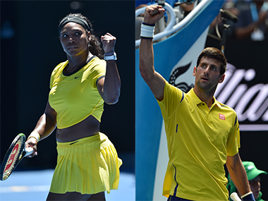 Serena Williams and Novak Djokovic at the Australian Open. AFP