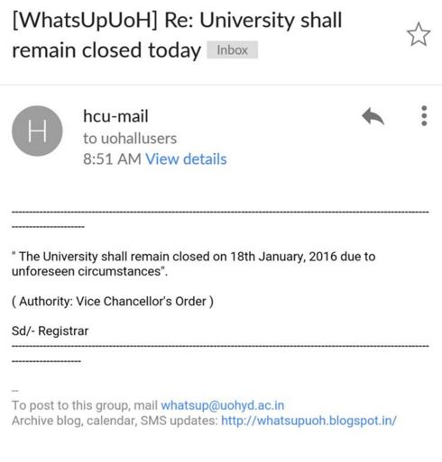 Screenshot of the mail sent by the university to its students.