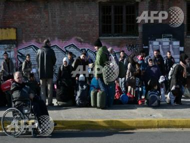 Refugees at the Greek-Macedonia border. AFP