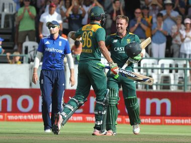 AB de Villiers celebrates after the win against England. AFP