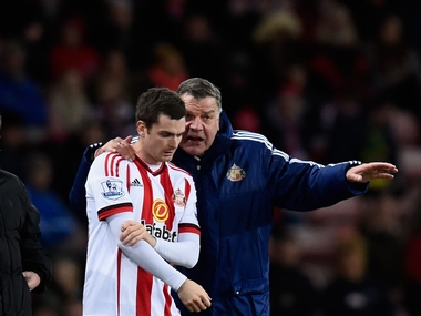 Adam Johnson with Sunderland manager Sam Allardyce. Getty