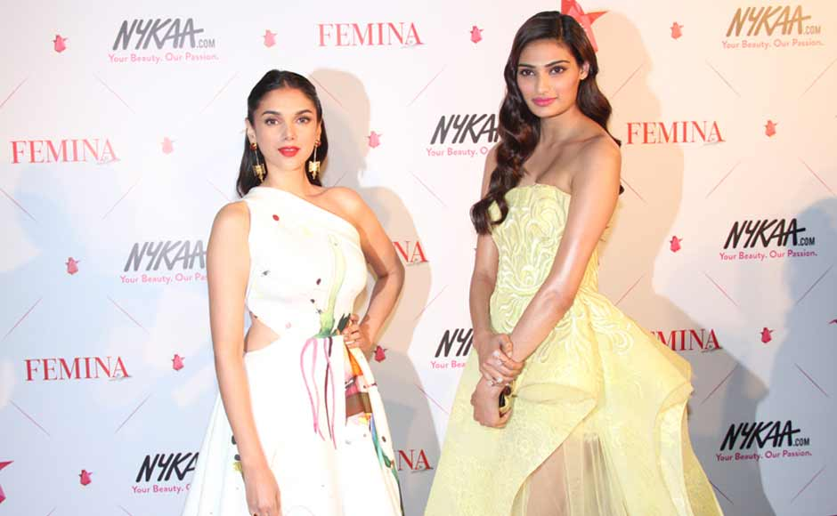 Aditi Rao Hydari and Athiya Shetty dazzled in pastel shades at the at Femina Beauty Awards 2016. Image Credit: Firstpost
