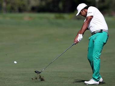 Anirban Lahiri (in action) pipped Thai golfer Thongchai Jaidee to the award. Twitter  @golfingindian