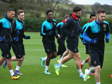 Arsenal team in training. Getty