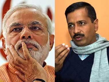 PM Narendra Modi (left) and Arvind Kejriwal. Agencies