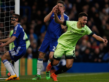 Man City's striker David Faupala, who scored against Chelsea at Stamford Bridge on Sunday, was targeted by coin-throwing fans. AFP