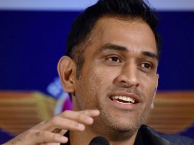 MS Dhoni during the jersey launch of RPSG. PTI