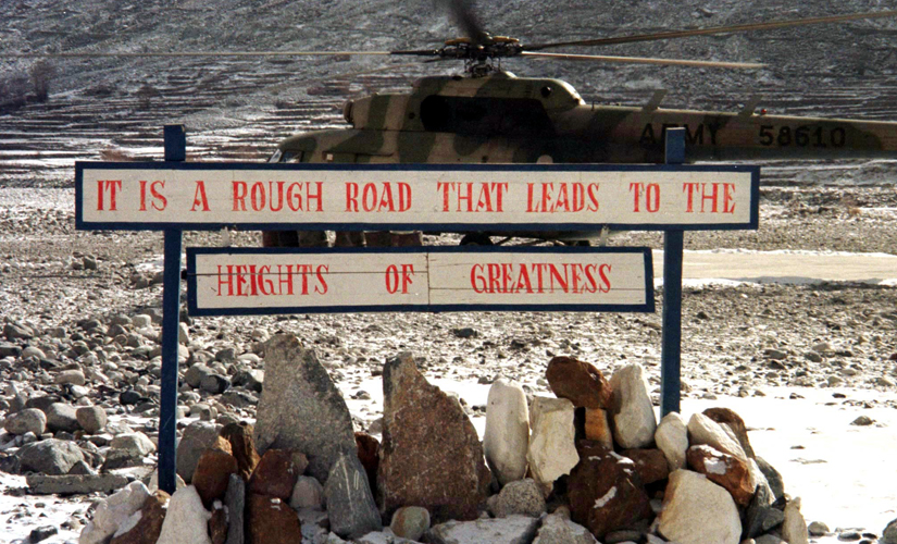 A signboard at the Siachen glacier. Reuters