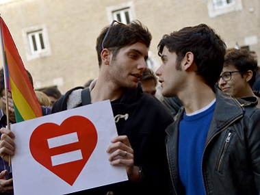 Supporters of same-sex civil unions demonstrate at the Piazza delle Cinque Lune in Rome. AFP