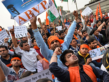 Protests at JNU. AFP